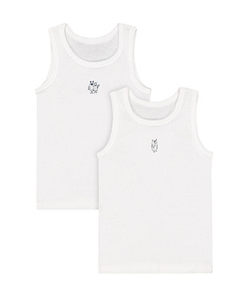Mothercare White Monster Vests - 2 Pack