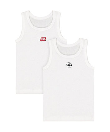 Mothercare White London Bus Vests - 2 Pack