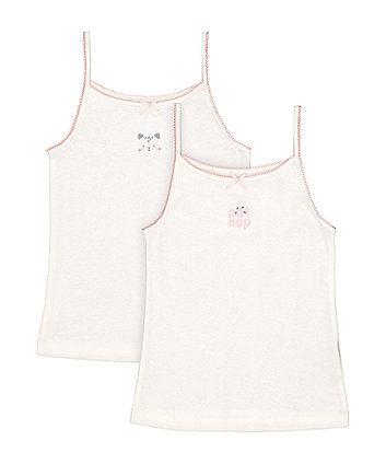 Mothercare White Cat Nap Cami Vests - 2 Pack