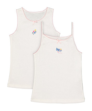 Mothercare White Butterfly And Flower Vests - 2 Pack