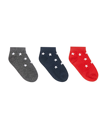 Mothercare Fashion Star Trainer Socks - 3 Pack