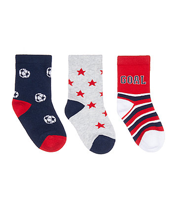 Mothercare Fashion Football Socks - 3 Pack