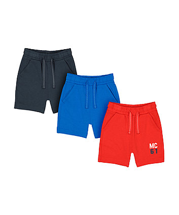 Mothercare Navy, Blue And Red Jersey Shorts - 3 Pack