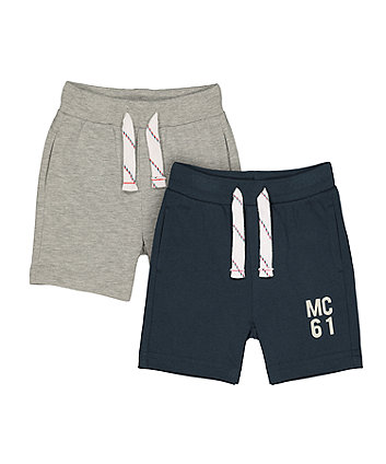 Mothercare Grey And Navy Jersey Shorts - 2 Pack