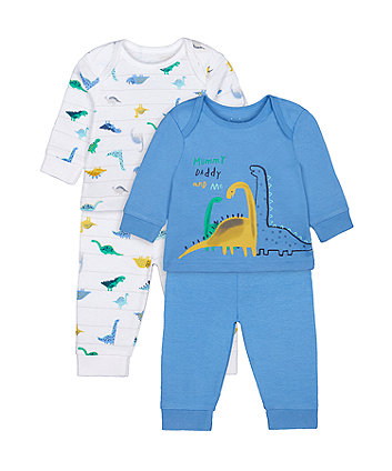 Mothercare Fashion Mummy And Daddy Dinosaur Pyjamas - 2 Pack