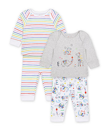 Mothercare Bright Safari Animal Pyjamas - 2 Pack