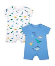 Mothercare Mummy And Daddy Dinosaur Rompers - 2 Pack