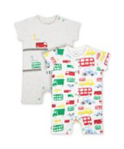 Mothercare LetS Go! Vehicle Rompers - 2 Pack