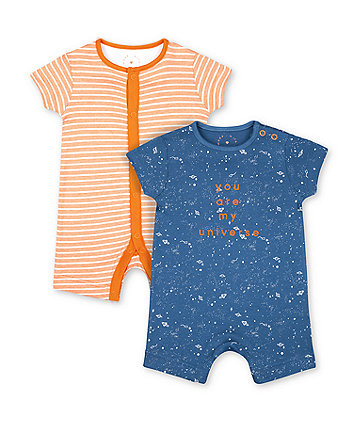 Mothercare Fashion Blue Space Universe And Orange Stripe Rompers - 2 Pack