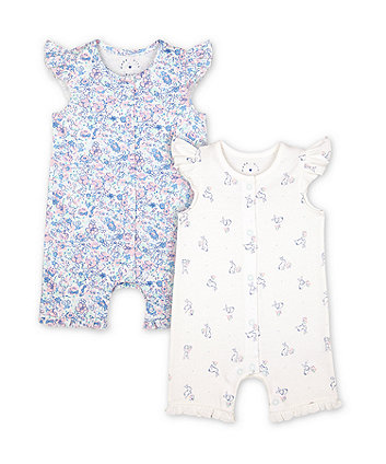 Mothercare Little Bunny And Floral Rompers - 2 Pack