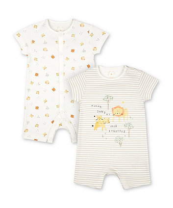 Mothercare Tiger And Lion Cub Rompers - 2 Pack