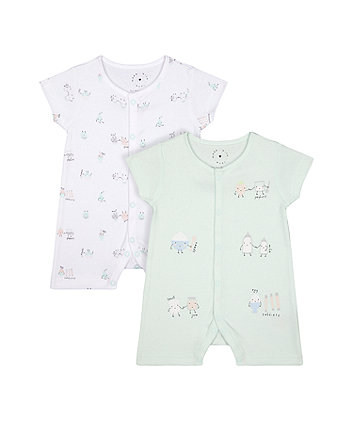 Mothercare Fashion Pastel Breakfast Buddies Rompers - 2 Pack