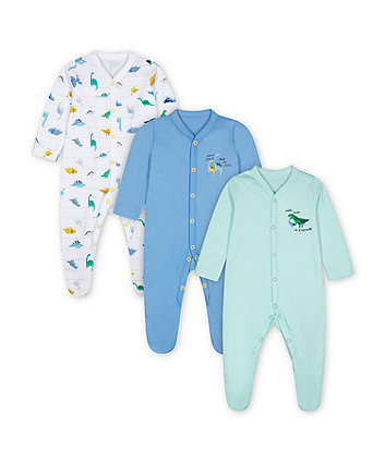 Mothercare Fashion Mummy And Daddy Dinosaur Sleepsuits - 3 Pack