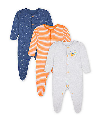 Mothercare Fashion Space Sleepsuits - 3 Pack
