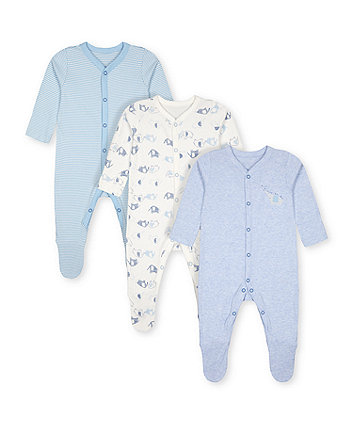 Mothercare Little Elephant Sleepsuits - 3 Pack