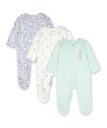 Mothercare Little Bunny Sleepsuits - 3 Pack
