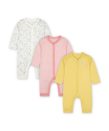 Mothercare Fashion Spring Flower Sleepsuits - 3 Pack