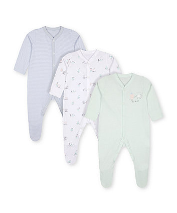 Mothercare Fashion Breakfast Buddies Sleepsuits - 3 Pack