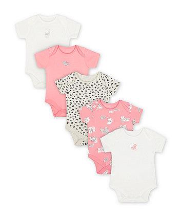 Mothercare Little Leopard Bodysuits - 5 Pack