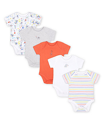 Mothercare Bright Safari Bodysuits - 5 Pack