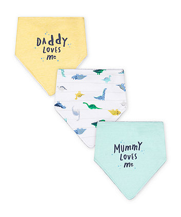 Mothercare Fashion Mummy And Daddy Dinosaur Bibs - 3 Pack