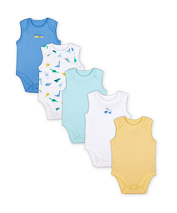 Mothercare Mummy And Daddy Dinosaur Bodysuits - 5 Pack
