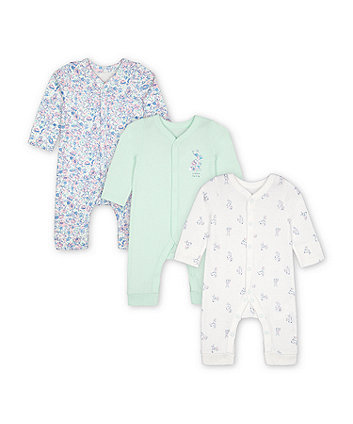 Mothercare Fashion Little Bunny Footless Sleepsuits - 3 Pack