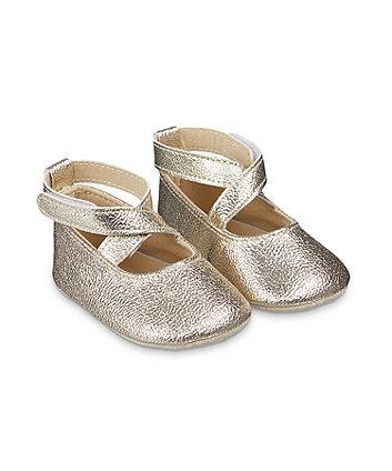 Mothercare Sparkly Gold Ballerina Pram Shoe
