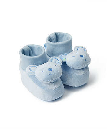Mothercare Blue Bear Rattle Socktop Booties