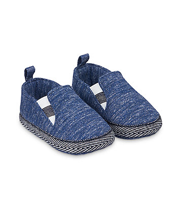 Mothercare Blue Marl Jersey Pram Shoes