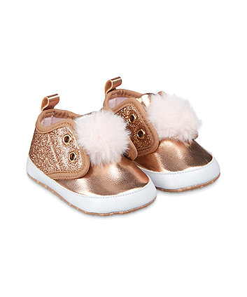 Mothercare Sparkly Rose-Gold Pom Pram Trainers