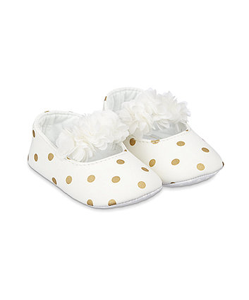 Mothercare Cream Spot Three-Dimensional Flower Baby Pram Shoes