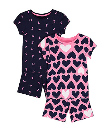 Mothercare Heart And Bow Shortie Pyjamas - 2 Pack