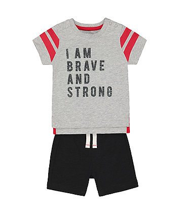 Mothercare Brave And Strong T-Shirt And Shorts Set