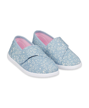 Mothercare Blue Floral Canvas Pumps