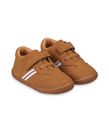 Mothercare Tan Striped Crawler Shoes