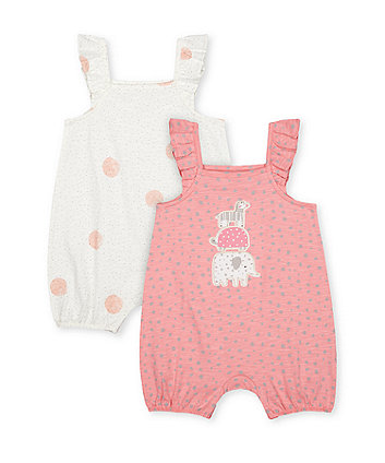 Mothercare Spot And Animal Frilled Rompers - 2 Pack