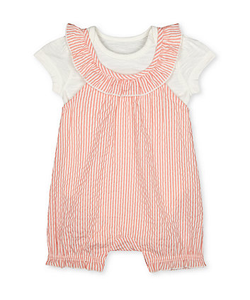 Mothercare Striped Seersucker Dungarees And Bodysuit Set
