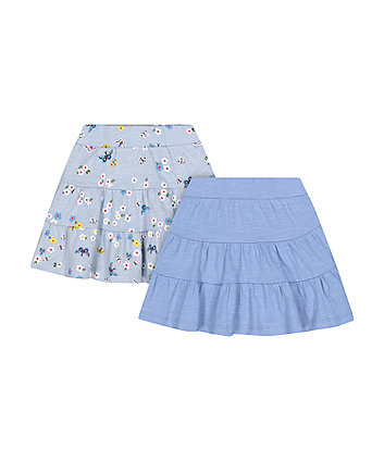 Blue And Floral Tiered Skirts - 2 Pack [SS21]