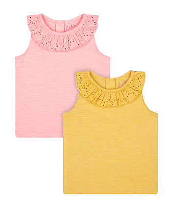 Mothercare Pink And Mustard Vest T-Shirts - 2 Pack
