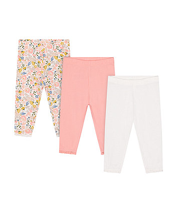 Mothercare Floral, White And Pink Leggings - 3 Pack
