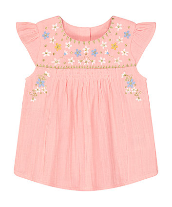 Mothercare Pink Embroidered Blouse