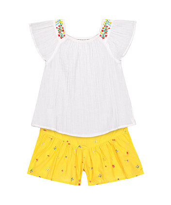 Mothercare Floral Blouse And Shorts Set