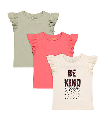 Mothercare Be Kind Reversible-Sequin, Khaki And Coral T-Shirts - 3 Pack
