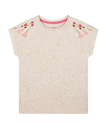 Mothercare Gold Sparkle Embroidered T-Shirt