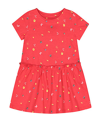Mothercare Red Floral Drop-Waist Dress