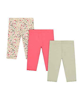 Mothercare Fashion Floral, Coral And Khaki Cropped Leggings - 3 Pack
