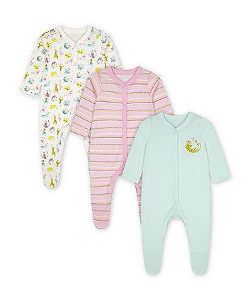 Mothercare Little Safari Sleepsuits - 3 Pack