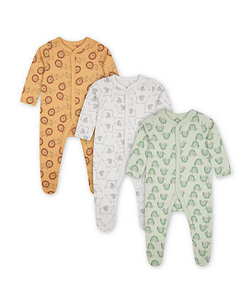 Mothercare Happy Animals Sleepsuits - 3 Pack