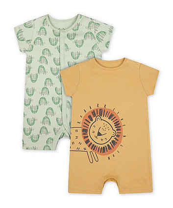 Mothercare Happy Animal Rompers - 2 Pack